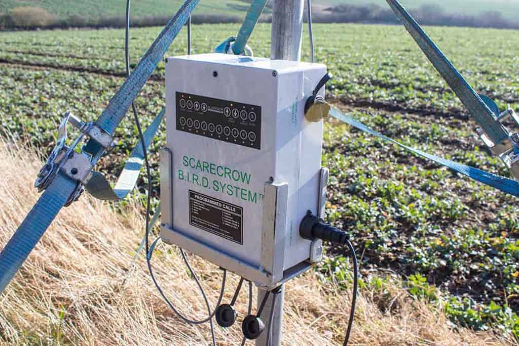 Scarecrow bird scarer system with calls control panel