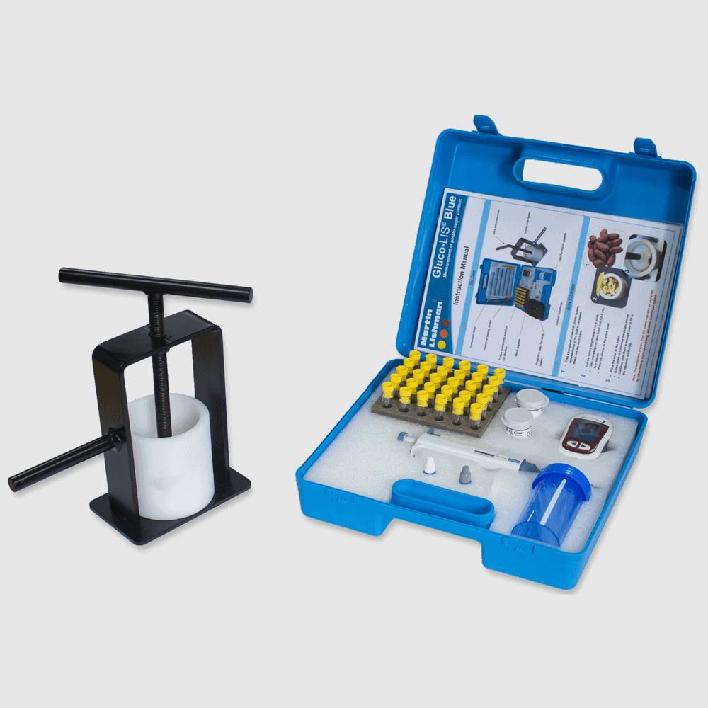 glucolis blue potato sugar testing kit with press